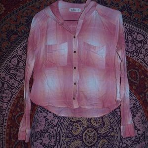 🌸 Hollister Pink Plaid Flannel Hooded Crop top